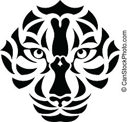 Tiger Head Tattoo - vector illustration of Tiger Head Tattoo