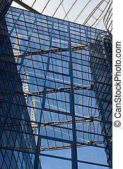 Blue facade - Reflection in glass blue fasade