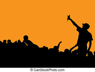 rapper concert - Rock concert with singer talking to the...