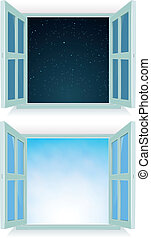 Open Window - Night And Day - Illustration of a home open...
