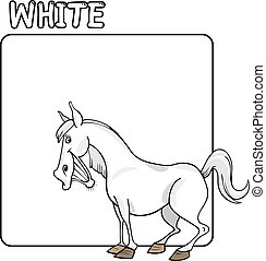 Color White and Horse Cartoon - Cartoon Illustration of...