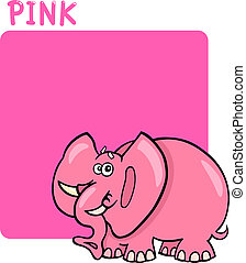 Color Pink and Elephant Cartoon