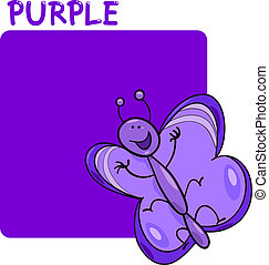 Color Purple and Butterfly Cartoon - Cartoon Illustration of...