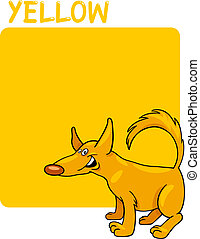 Color Yellow and Dog Cartoon - Cartoon Illustration of Color...