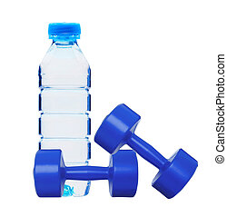 dumbbells fitness and bottle of water isolated on white