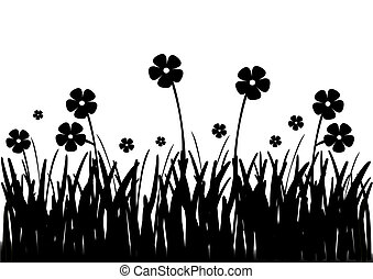 Flowers in field black and white - Flowers growing in field...