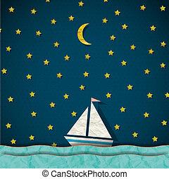 Sailing boat at night. Vector paper-art