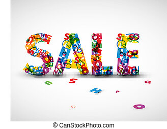 Vector sale label made from letters
