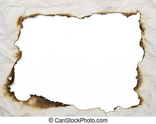 burnt frame - old burnt wrinkled paper background