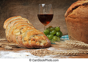fresh backed bread still life concept