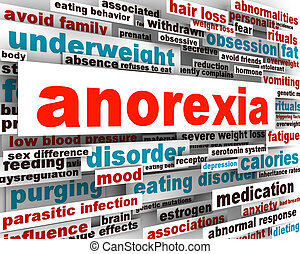 Anorexia disorder design. Psychological trauma