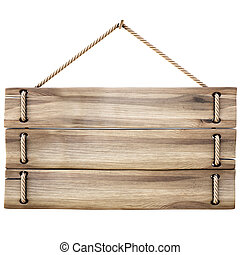 sign - blank wooden sign hanging on a rope. isolated on...