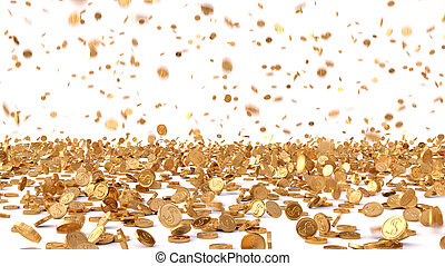 rain from the golden coins. isolated on white.