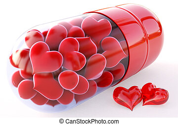 capsule - red hearts inside the red capsule isolated on...