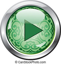green play button - Carrier - with a retro pattern and shiny...