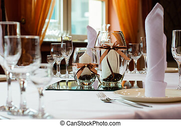 Table setting for wedding dinner - Festive table setting for...
