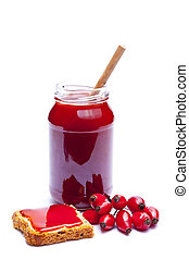 rosehip marmalade - homemade rosehip marmalade isolated on a...