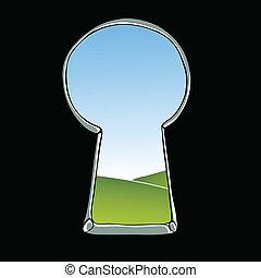 Keyhole illustration. View of landscape through keyhole....
