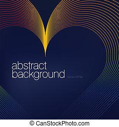 colorido, corazón, formado, líneas, Extracto,...