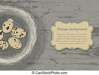 Nest with eggs on wooden texture. Vector, EPS 10