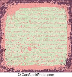 Vintage cute handwrinigs seamless pattern with grunge frame and stains. Vector.