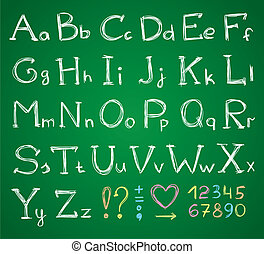 alphabet - hand drawn alphabet on a green chalkboard