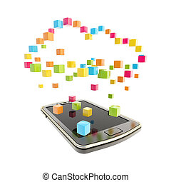 Mobile phone cloud computing concept - Mobile phone concept...