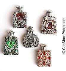 Five perfume bottles - Five glamourous perfume bottles, up...