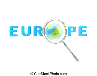 "Word ""Europe"" under the magnifier"