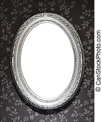 Mirror Frame - Blank mirror frame on a wall covered with...