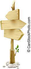 wooden pointer with arrow - wooden direction pointer...