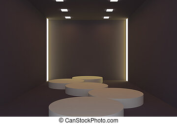 Empty fashion runway yellow color lighting and black wall.