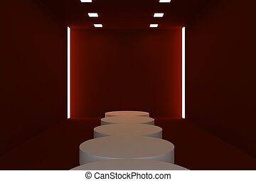 Empty fashion runway red color lighting and black wall.