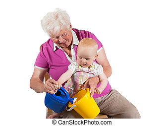 Grandmother playing with her grandchild