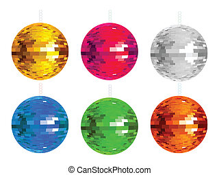abstract colorful disco balls set