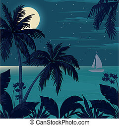 Tropical ocean landscape with palm trees