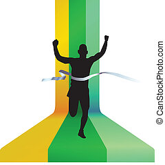 Finishing runner vector illustration - Runner passes finish...