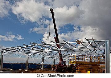 Steel Construction Work - Assebbling steel roof truss