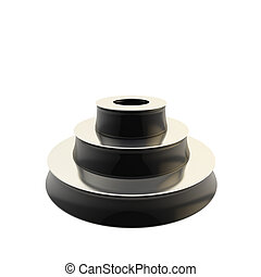 Black three step glossy podium isolated