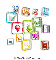 Mobile computer application icons isolated - Mobile computer...