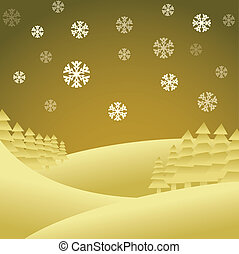 Abstract christmas theme, winter landscape - illustration