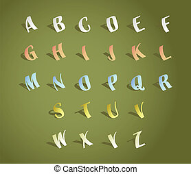Alphabet font, cut of paper