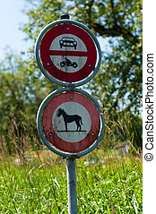 No entry sign for cars, motorbikes and horses in endangered...
