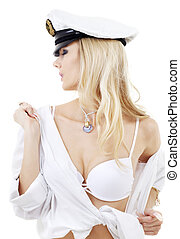 sailor fantasies - picture of sensual blonde in sailor cap...