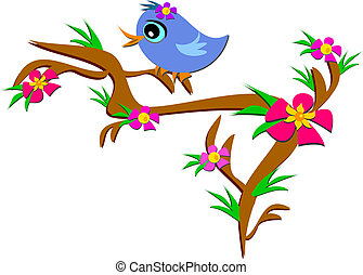 Bird on a Floral Branch