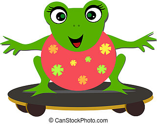 Sweet Frog on a Skateboard - Here is a happy Frog having a...