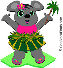 Hula Mouse with a Palm Tree - This cute Mouse loves to...