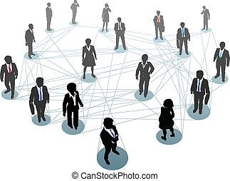 Business people network connection nodes - Group of business...