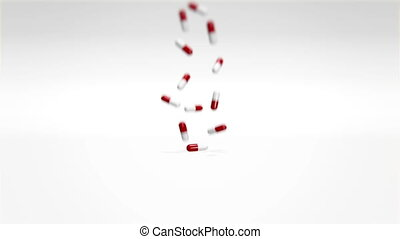 Red White Pills Falling - 3d animation of red and white...