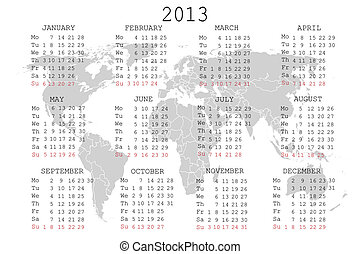 2013 Calendar with world map
